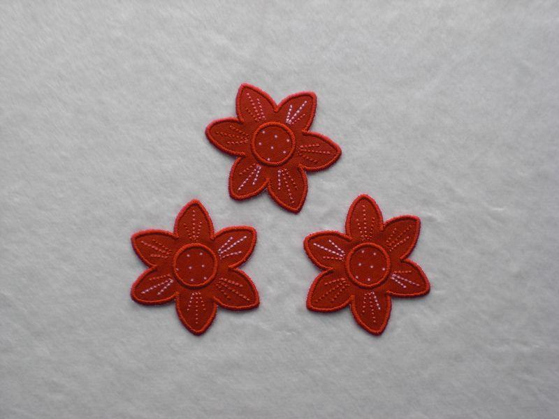 - Blumen Nr.2, 3er Set, rot, Stickapplikation zum Aufbügeln         - Blumen Nr.2, 3er Set, rot, Stickapplikation zum Aufbügeln