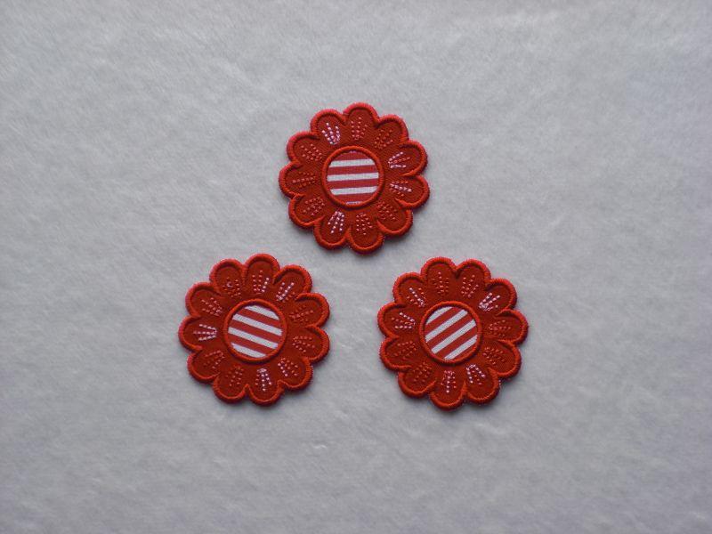 - Blumen Nr.5, 3er Set, rot, Stickapplikation zum Aufbügeln          - Blumen Nr.5, 3er Set, rot, Stickapplikation zum Aufbügeln