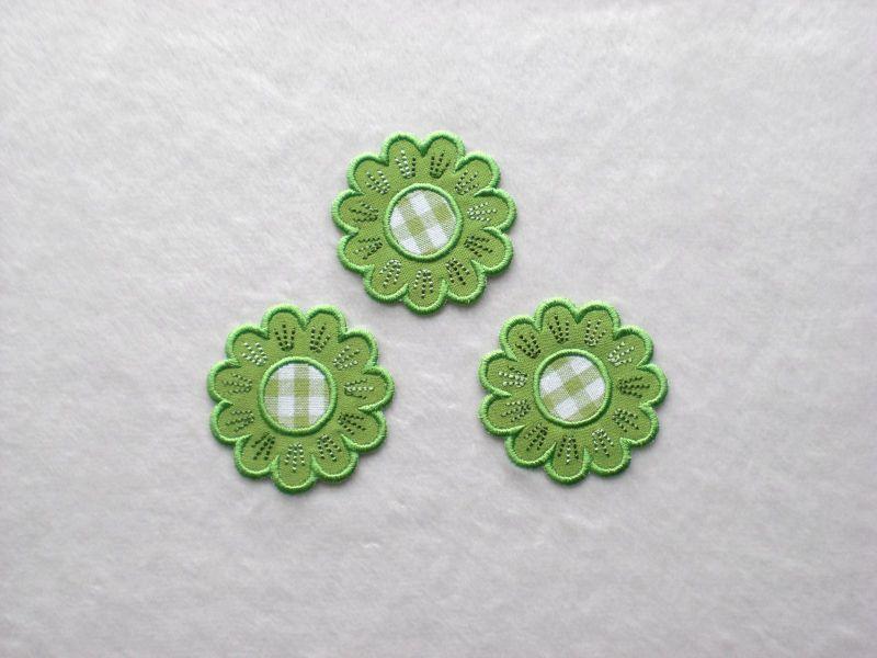 - Blumen Nr.5, 3er Set, grasgrün, Stickapplikation zum Aufbügeln             - Blumen Nr.5, 3er Set, grasgrün, Stickapplikation zum Aufbügeln