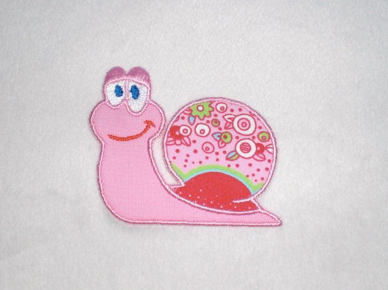 - Schnecke in rosa, Stickapplikation zum Aufbügeln              - Schnecke in rosa, Stickapplikation zum Aufbügeln