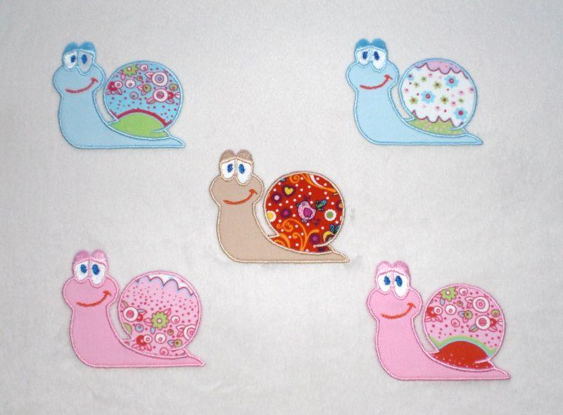 Kleinesbild - Schnecke in rosa, Stickapplikation zum Aufbügeln