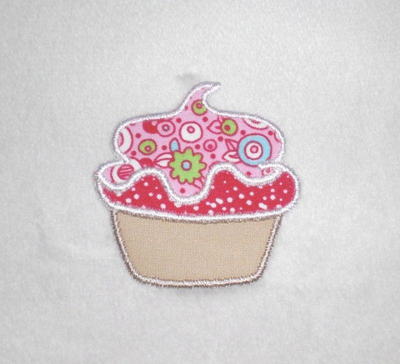 - Cupcake mit rosa Haube, Nr.1, Stickapplikation zum Aufbügeln                   - Cupcake mit rosa Haube, Nr.1, Stickapplikation zum Aufbügeln