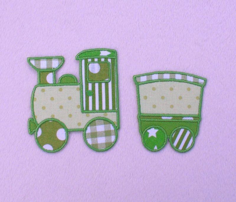 - Lokomotive mit Anhänger in grün, Nr.1, Stickapplikation zum Aufbügeln                - Lokomotive mit Anhänger in grün, Nr.1, Stickapplikation zum Aufbügeln