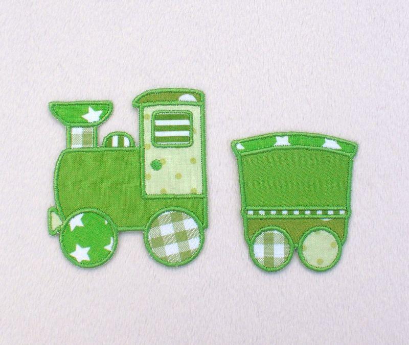 - Lokomotive mit Anhänger in grün, Nr.4, Stickapplikation zum Aufbügeln                 - Lokomotive mit Anhänger in grün, Nr.4, Stickapplikation zum Aufbügeln