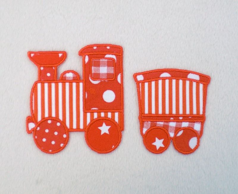 - Lokomotive mit Anhänger in orange, Nr.2, Stickapplikation zum Aufbügeln                   - Lokomotive mit Anhänger in orange, Nr.2, Stickapplikation zum Aufbügeln