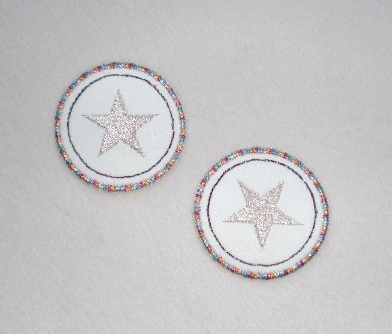 - Sterne im Kreis, 2er Set, metallic, Nr.1, Stickapplikation zum Aufbügeln                   - Sterne im Kreis, 2er Set, metallic, Nr.1, Stickapplikation zum Aufbügeln