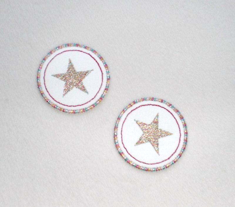 - Sterne im Kreis, 2er Set, metallic, Nr.2, Stickapplikation zum Aufbügeln                    - Sterne im Kreis, 2er Set, metallic, Nr.2, Stickapplikation zum Aufbügeln