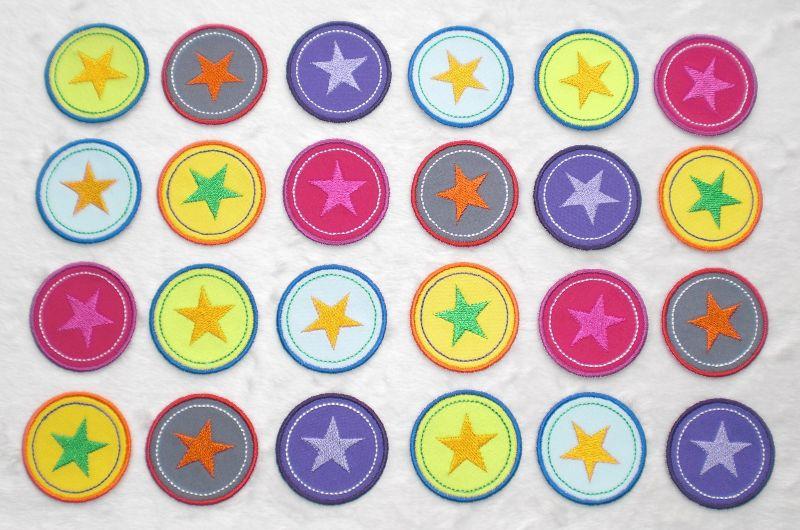 Kleinesbild - Sterne im Kreis, 2er Set, grüntöne, Nr.4, Stickapplikation zum Aufbügeln