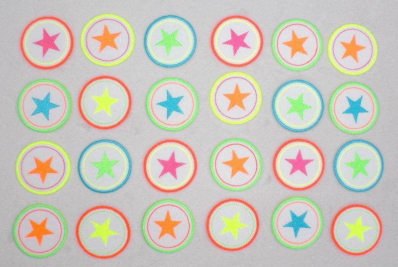 Kleinesbild - Sterne im Kreis, 4er Set, lilatöne, Nr.5, Stickapplikation zum Aufbügeln