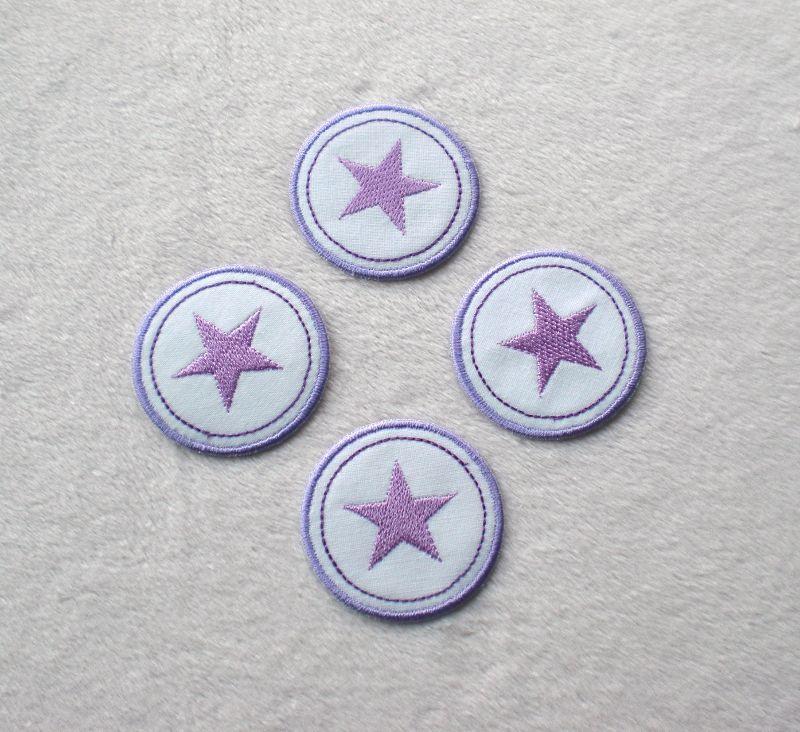 - Sterne im Kreis, 4er Set, lilatöne, Nr.5, Stickapplikation zum Aufbügeln   - Sterne im Kreis, 4er Set, lilatöne, Nr.5, Stickapplikation zum Aufbügeln