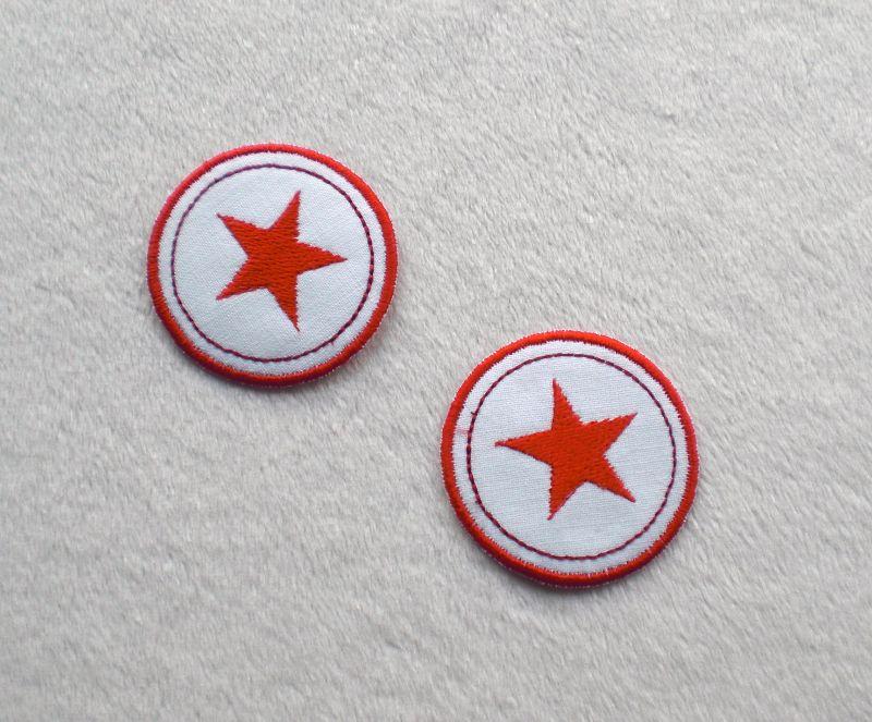 - Sterne im Kreis, 2er Set, rottöne, Nr.6, Stickapplikation zum Aufbügeln    - Sterne im Kreis, 2er Set, rottöne, Nr.6, Stickapplikation zum Aufbügeln