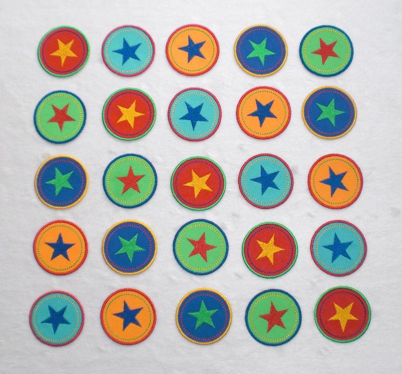 Kleinesbild - Sterne im Kreis, 4er Set, rottöne, Nr.6, Stickapplikation zum Aufbügeln