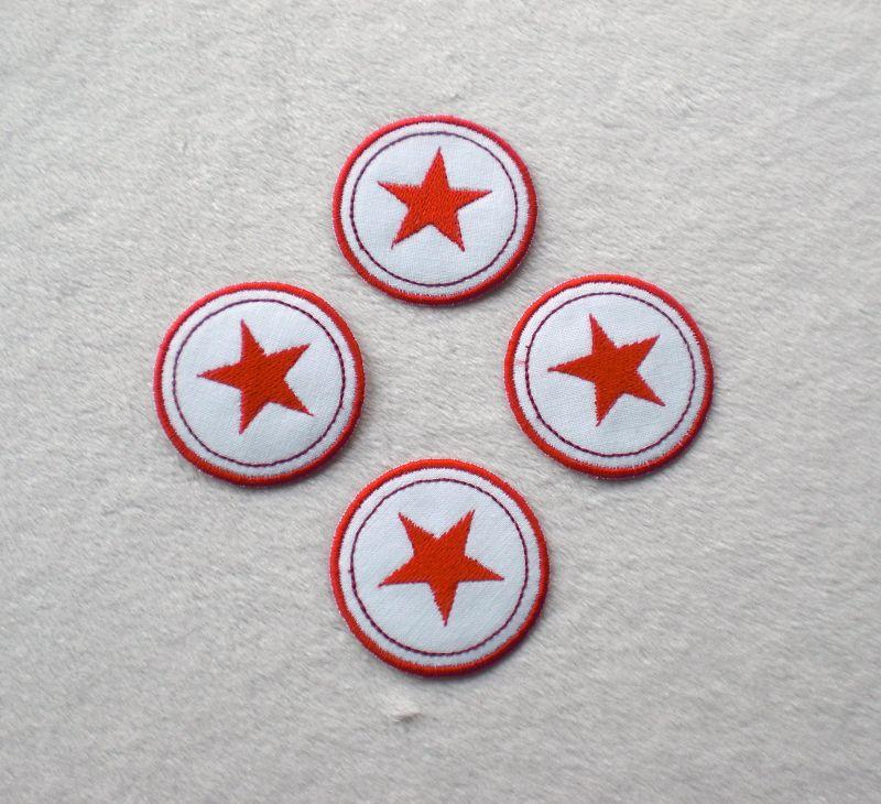 - Sterne im Kreis, 4er Set, rottöne, Nr.6, Stickapplikation zum Aufbügeln     - Sterne im Kreis, 4er Set, rottöne, Nr.6, Stickapplikation zum Aufbügeln