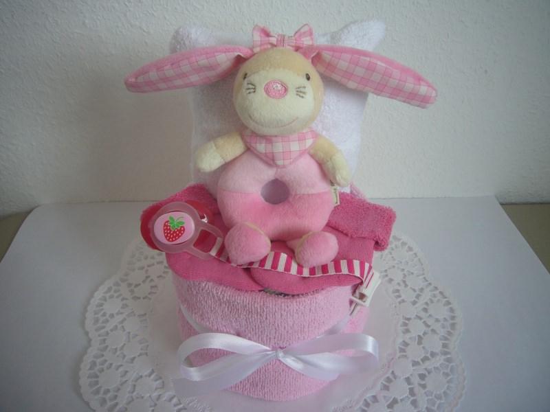 Babyartikel Windeltorte Mädchen Greifling Hase Rosa Pink Schnullerband