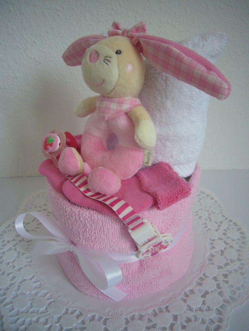 Kleinesbild - Windeltorte Mädchen Greifling Hase rosa pink Schnullerband