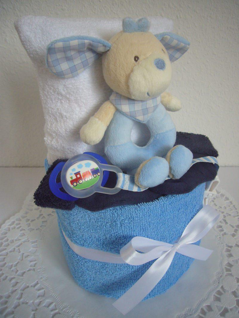 Kleinesbild - Windeltorte Junge Taufe Geburt Greifling blau