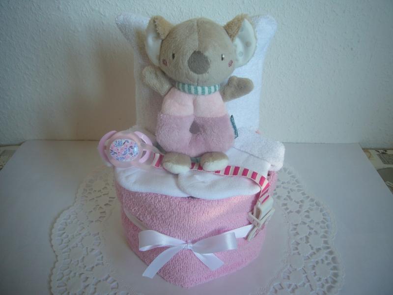 - Windeltorte Mädchen Greifling flieder rosa Geburt Taufe Baby Geschenk - Windeltorte Mädchen Greifling flieder rosa Geburt Taufe Baby Geschenk
