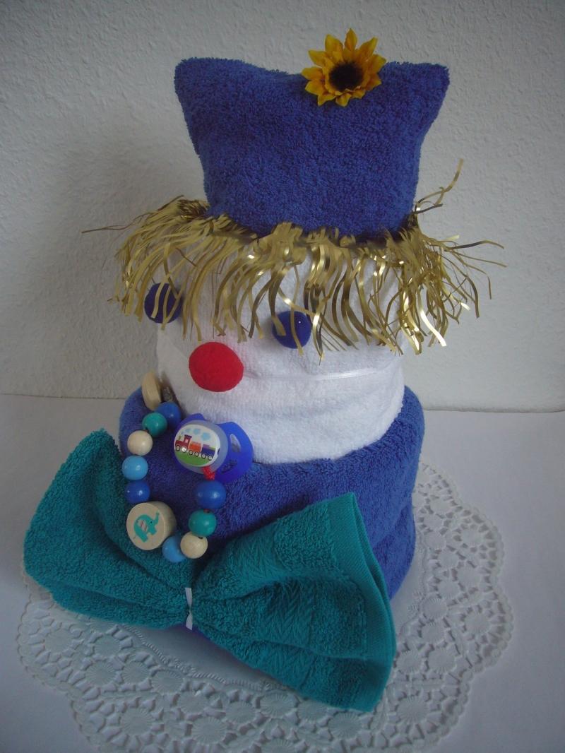 Kleinesbild - Windeltorte Junge Karneval Fasching Clown blau grün Schnullerkette
