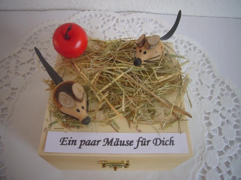 Kleinesbild - Geldgeschenk Mäuse Konfirmation Kommunion Firmung Jugendweihe Maus Heu Stroh Apfel Geld verschenken