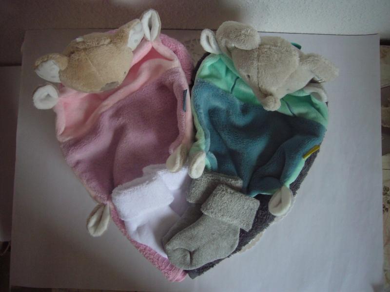 Kleinesbild - Windeltorte Zwillinge Mädchen Junge Herz Koala Elefant rosa grün flieder mint