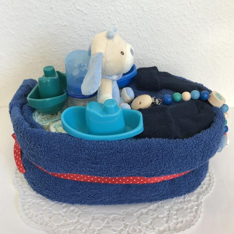 Kleinesbild - Windeltorte Junge Schiff Boote Greifling Wellness Handtuch Geschenk Geburt Taufe