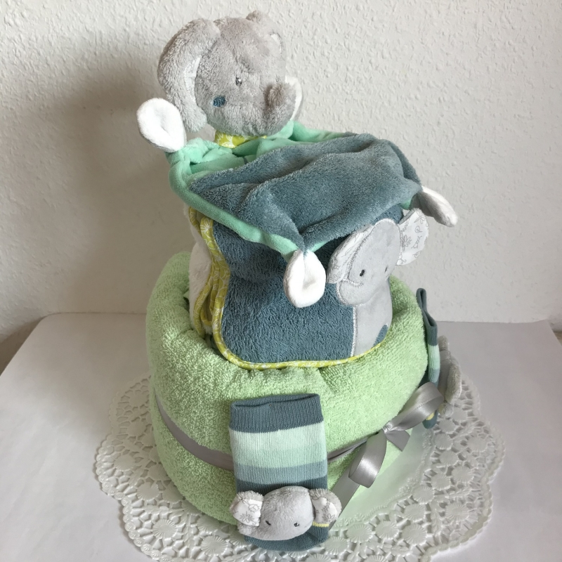 Kleinesbild - Windeltorte Elefant Junge mint grün Geschenk Geburt Taufe Schmusetuch Rasselsöckchen Lätzchen