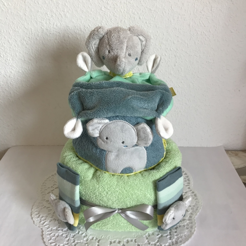 - Windeltorte Elefant Junge mint grün Geschenk Geburt Taufe Schmusetuch Rasselsöckchen Lätzchen - Windeltorte Elefant Junge mint grün Geschenk Geburt Taufe Schmusetuch Rasselsöckchen Lätzchen