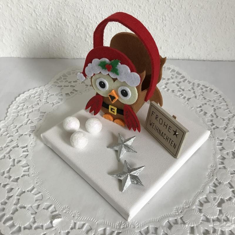Kleinesbild - Eule Weihnachten Geldgeschenk Weihnachtsdeko Sterne Schnee Geld Gutschein Weihnachtsgeschenk Frohe Weihnachten Filz-Tasche Holz