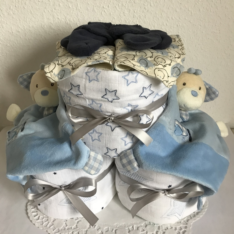 - Windeltorte Jungen Zwillinge Sterne Elefanten Geburt Taufe blau Schmusetuch Mullwindel Dreieckstuch - Windeltorte Jungen Zwillinge Sterne Elefanten Geburt Taufe blau Schmusetuch Mullwindel Dreieckstuch