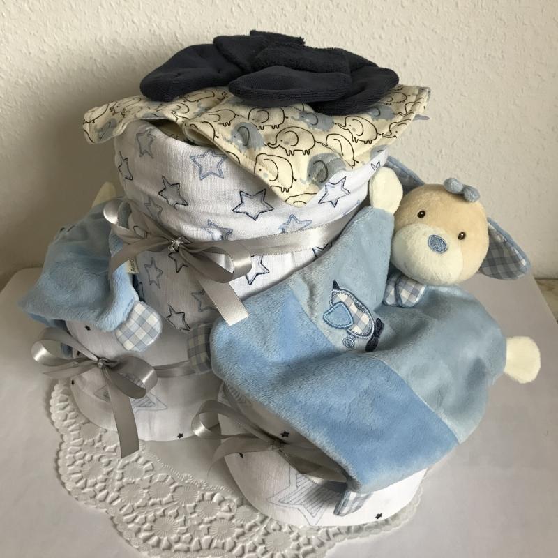Kleinesbild - Windeltorte Jungen Zwillinge Sterne Elefanten Geburt Taufe blau Schmusetuch Mullwindel Dreieckstuch