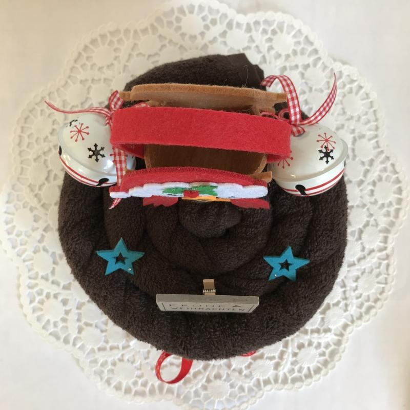 Kleinesbild - Weihnachtsgeschenk Eule Filz-Tasche Gutschein Schellen Sterne Handtuchtorte Frohe Weihnachten Duschtuch rot weiß