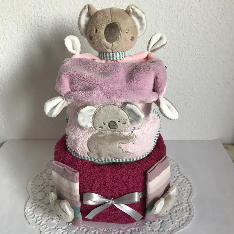 - Koala Windeltorte Mädchen Geschenk Geburt Taufe Schmusetuch Lätzchen Rasselsöckchen lila flieder rosa - Koala Windeltorte Mädchen Geschenk Geburt Taufe Schmusetuch Lätzchen Rasselsöckchen lila flieder rosa