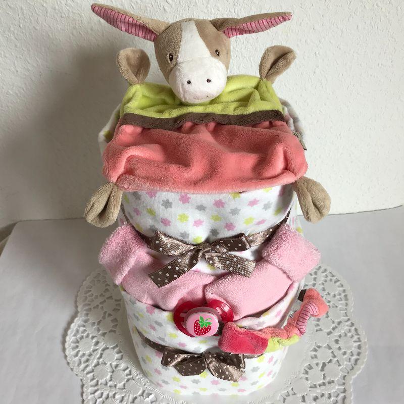 Kleinesbild - Mädchen Windeltorte Schmusetuch Moltontuch Schnullerband Söckchen Babyparty Geburt Taufe Geschenk