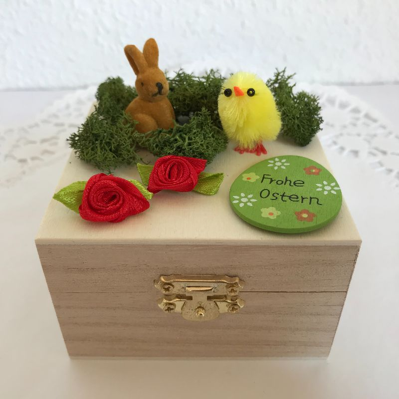 Kleinesbild - Ostern Geldgeschenk originell verpacken Osterhase Küken Osterei Frohe Ostern Holz-Box Ostergeschenk