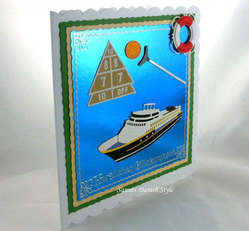 Kleinesbild - Geburtstagskarte Urlaub mit Kreuzfahrtschiff und Schiffsspiele, ca. 15 x 15 cm