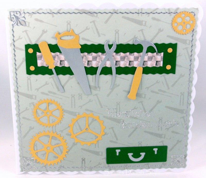 Kleinesbild - Grußkarte Heimwerker, selber Macher, Hobby Bastler mit Werkzeug, Werkzeugskiste, Hammer, Säge, Kneifzange, ca. 15 x 15 cm