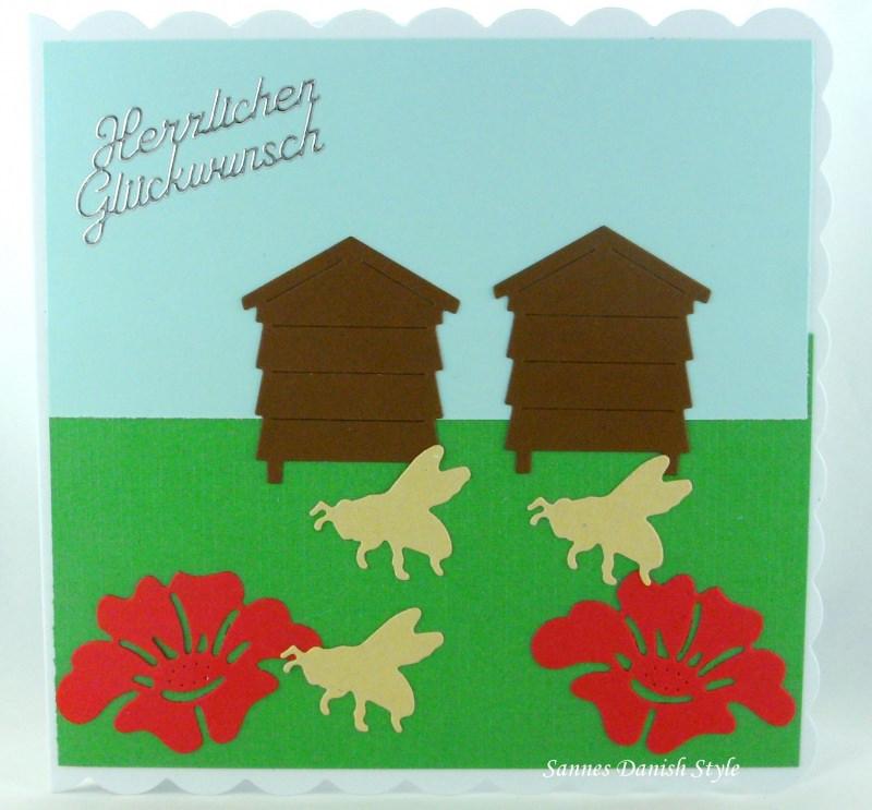 Kleinesbild - Geburtstagskarte, Grußkarte, Imker, Bienenzüchter, für Imker mit Bienen, Bienenstock und Blumen, ca. 15 x 15 cm