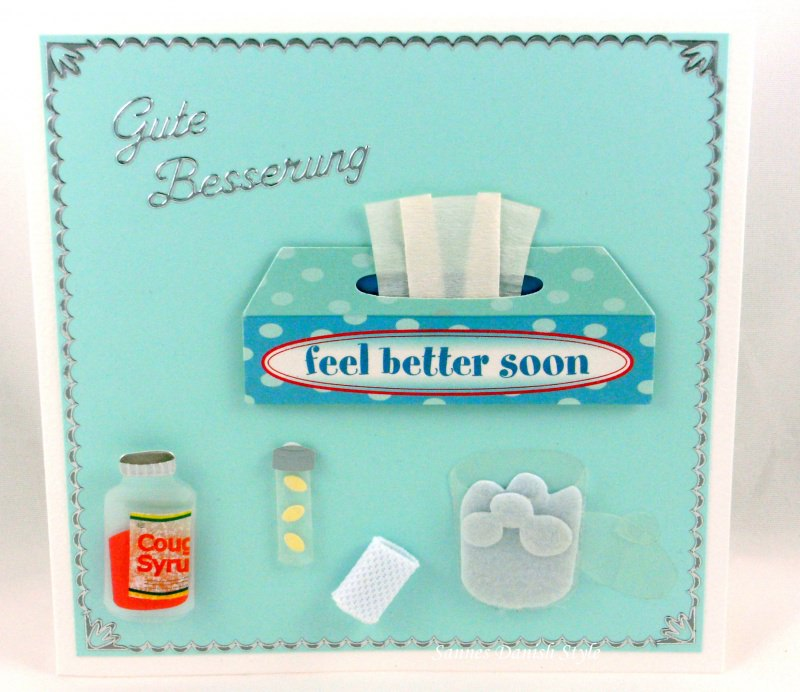 Kleinesbild - Grußkarte mit liebe Gute Besserungswünsche, mit Tücher, Hustensaft, ca. 15 x 15 cm