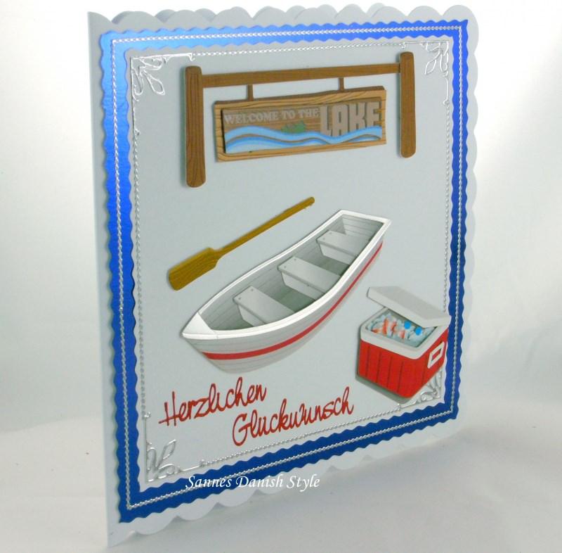 Kleinesbild - Geburtstagskarte Mann mit Boat, Paddel, Kühlbox und Schild, ca. 15 x 15 cm
