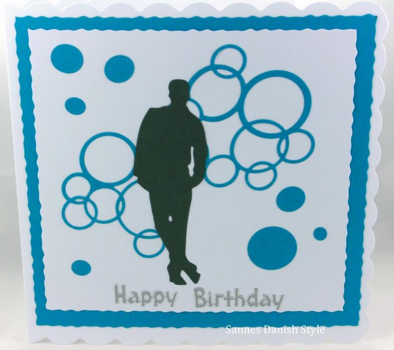 Kleinesbild - Geburtstagskarte, Happy Birthday, neutrale Grußkarte, Mann, Jungs, als Silhouette und mit Kreise, die Karte ist ca. 15 x 15 cm