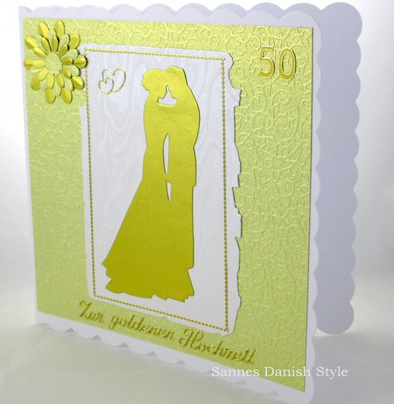 Kleinesbild - Grußkarte Goldener Hochzeit, Herzen, Blume, Hochzeitspaar, 50. Jahrestag, ca 15 x 15 cm