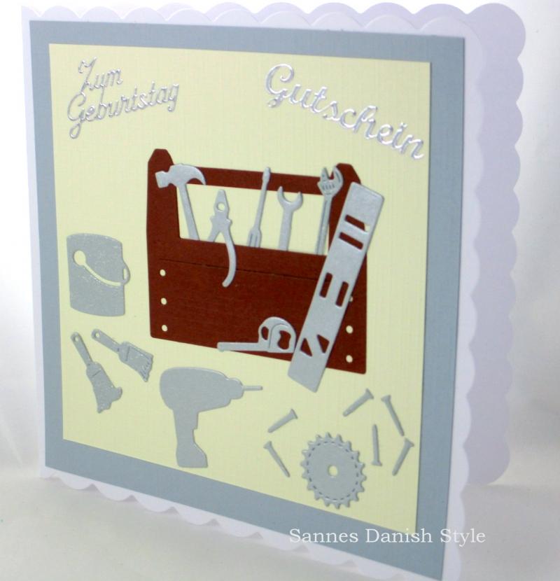 Kleinesbild - Grußkarte, Geburtstagskarte, Gutschein für Hobby Bastler, Handwerker, selber Macher, ca. 15 x 15 cm