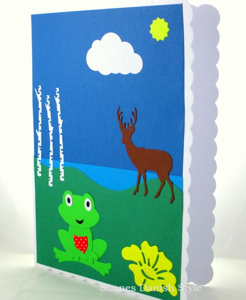 Kleinesbild - DIN A5 verspielte Grußkarte, Geburtstagskarte mit Frosch, Hirsch, See, gelbe Blume und Birken