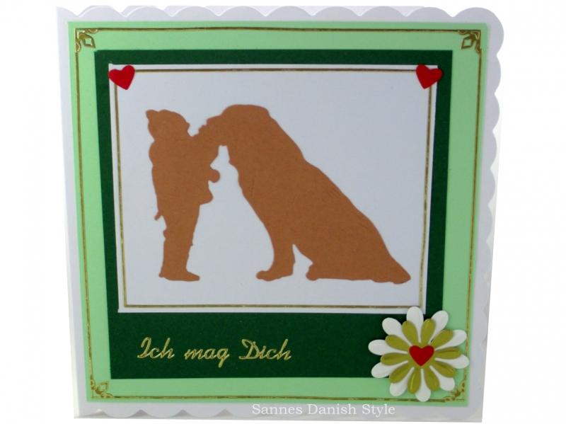 - Glückwunschkarte, Liebe, Freundschaft, Kind und Hund, Geburtstagsgrüße,  ca. 15 x 15 cm - Glückwunschkarte, Liebe, Freundschaft, Kind und Hund, Geburtstagsgrüße,  ca. 15 x 15 cm