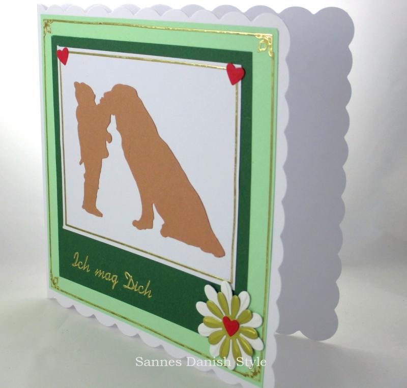 Kleinesbild - Glückwunschkarte, Liebe, Freundschaft, Kind und Hund, Geburtstagsgrüße,  ca. 15 x 15 cm