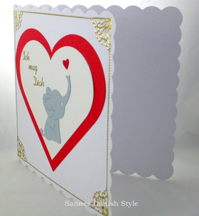 Kleinesbild - Grußkarte Baby Elefant, Liebeskarte, Freundschaftskarte, Geburtstagsgrüße,  ca. 15 x 15 cm