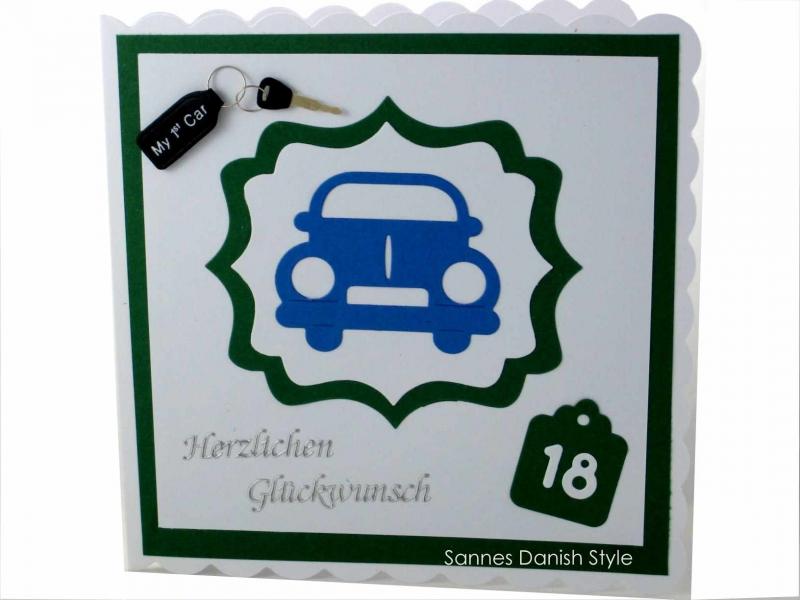 - Grußkarte Führerschein, Zum bestandenen Führerschein, 18, Auto, Geburtstagsgrüße,  ca. 15 x 15 cm - Grußkarte Führerschein, Zum bestandenen Führerschein, 18, Auto, Geburtstagsgrüße,  ca. 15 x 15 cm