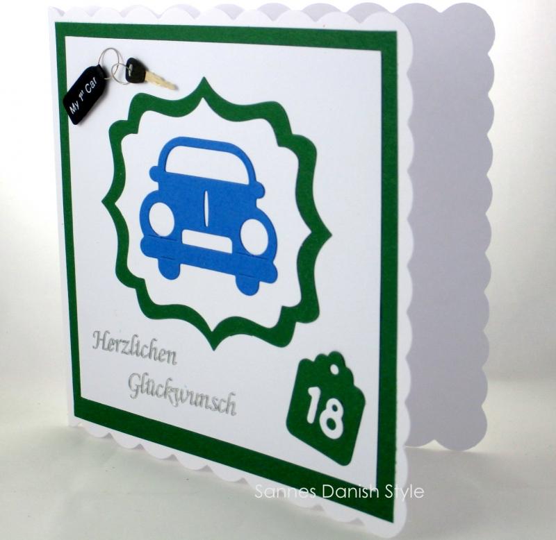 Kleinesbild - Grußkarte Führerschein, Zum bestandenen Führerschein, 18, Auto, Geburtstagsgrüße,  ca. 15 x 15 cm