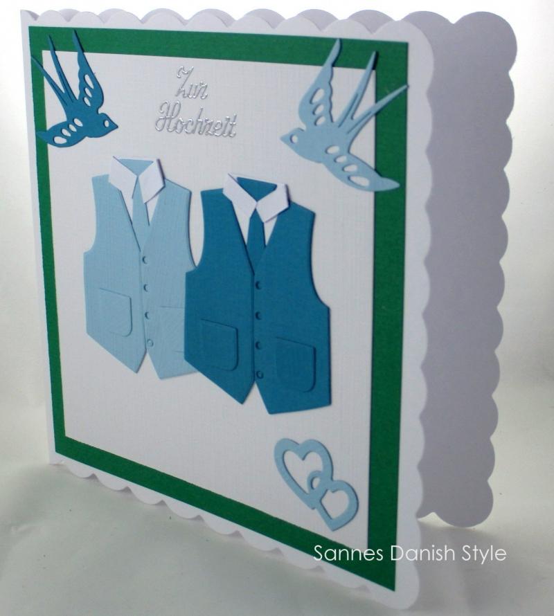 Kleinesbild - Glückwunschkarte zur Hochzeit, Männer Hochzeitskarte, Grußkarte mit Westen, ca 15 x 15 cm