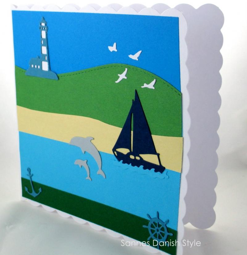 Kleinesbild - Geburtstagskarte Urlaub, Grußkarte für Männer und Frauen, Urlaubskarte, Geldgeschenkverpackung mit Delfine, Leuchtturm, Segelboat, die Karte ist ca. 15 x 15 cm